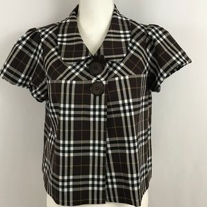 Maurices Black/Brown/White Short Sleeve Blouse Top